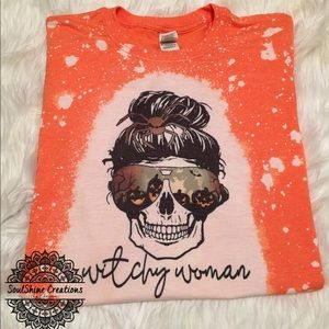 Witchy Woman Halloween Skull Bleached Shirt